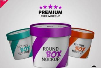 Free Premium Round Paper Box Mockup in PSD