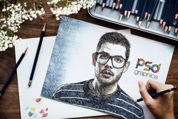 Free Artistic Sketch Effect Design Mockup in PSD