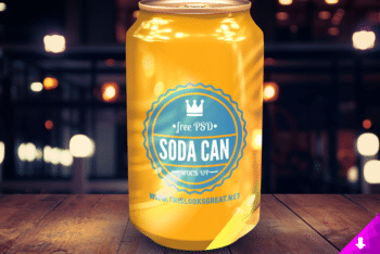A Bright Looking Soda Can PSD Mockup Available For Free