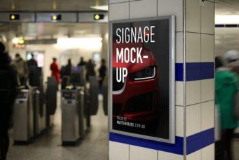 Free Subway Station Signage Design Mockup in PSD