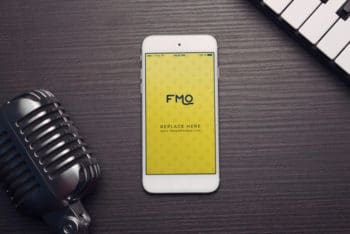 Free Smartphone Music Concept Mockup in PSD