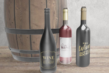 Customizable Wine Bottle PSD Mockup – A Set of 3