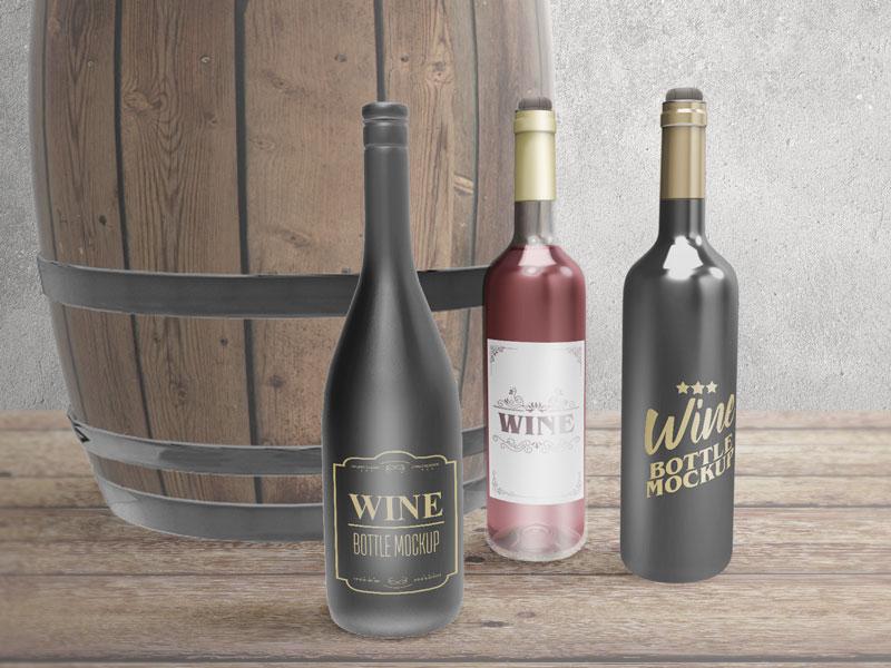Wine Bottle PSD Template Design