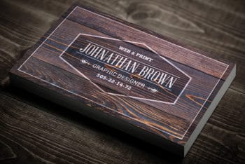 Free Classy Wooden Business Card Mockup in PSD