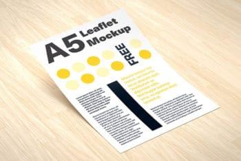 Free Download A5 Leaflet Mockup