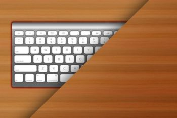 Free Apple Keyboard Plus Wood Surface Mockup in PSD