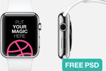 Apple Watch PSD Mockup With White & Silver Color Combinations