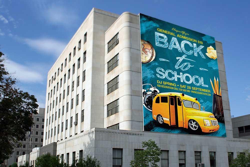 free building complex billboard mockup