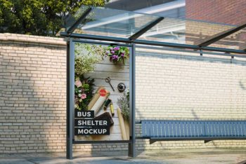 Free Bus Shelter Advertisement Mockup