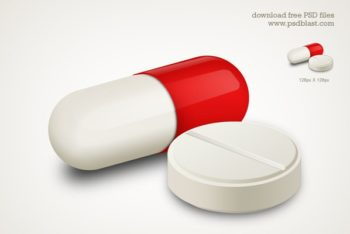 Free Capsule Plus White Pill Mockup in PSD