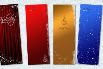 Free Christmas Banner Design Mockup in PSD