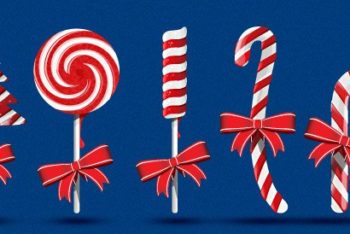 Free Sweet Christmas Candy Cane Mockup in PSD