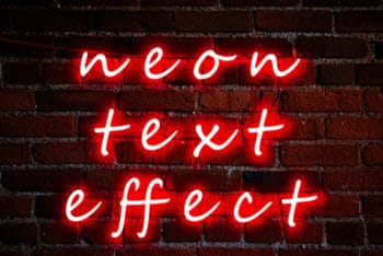 Free Cursive Neon Text Effect Mockup in PSD