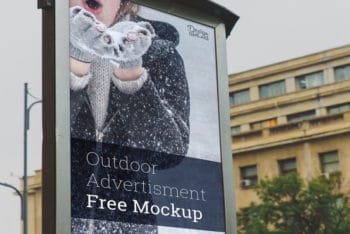 Free Snowy Outdoor Advertising Mockup in PSD