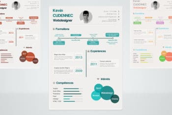 Free Modern Infographic Style Resume Mockup in PSD