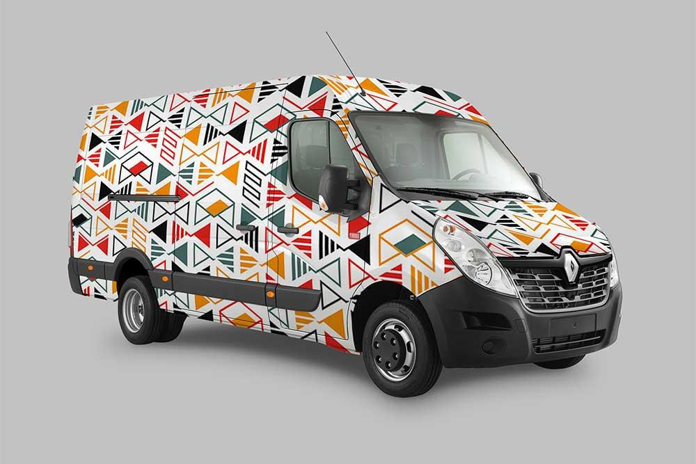 delivery truck wrap design mockup