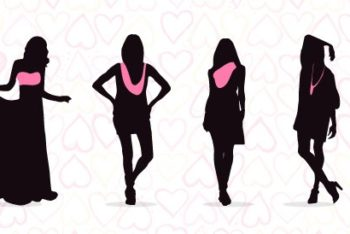 Free Fashionable Women Silhouettes Mockup in PSD