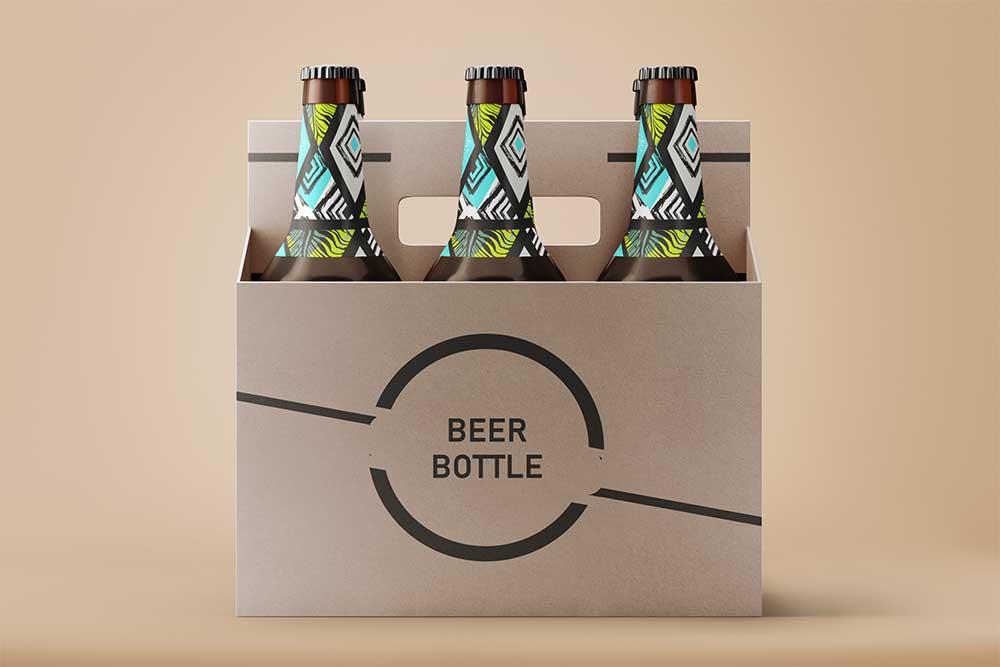 free beer bottle psd label mockup
