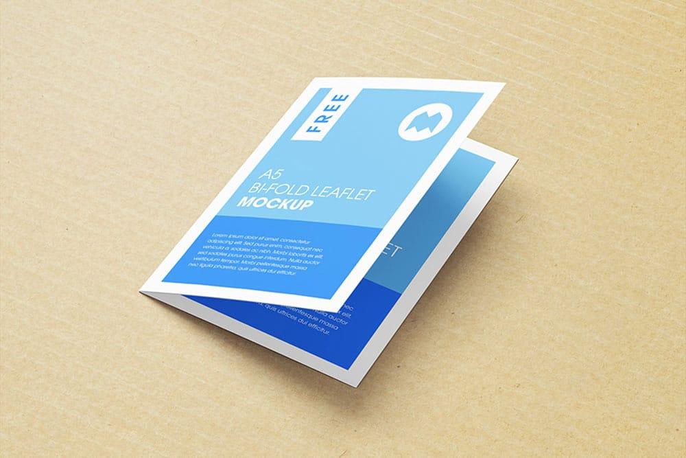free a5 bifold leaflet mockup