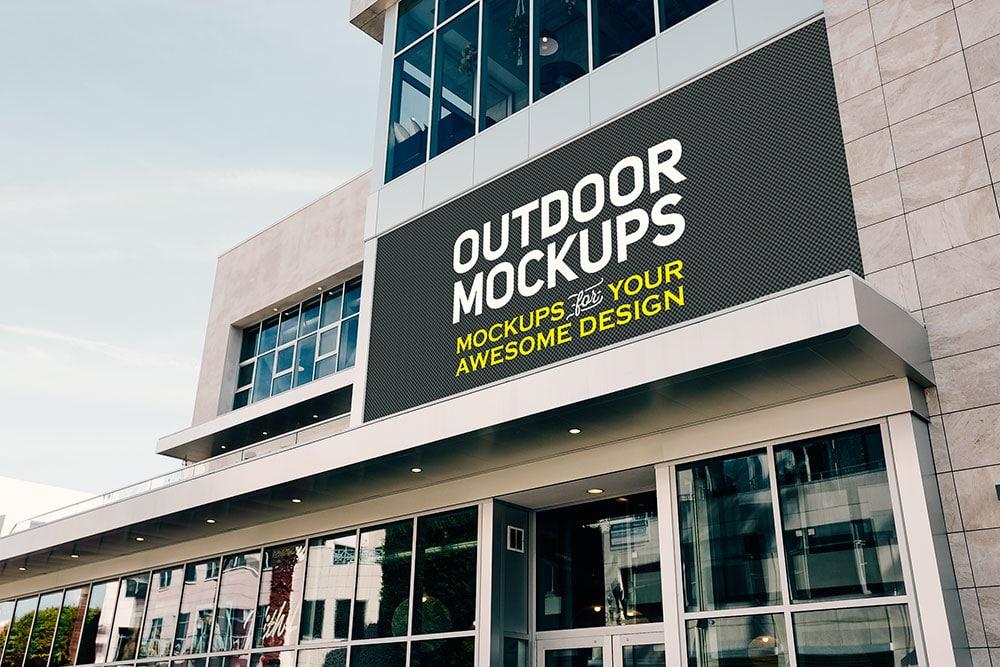 free download building facade logo mockup