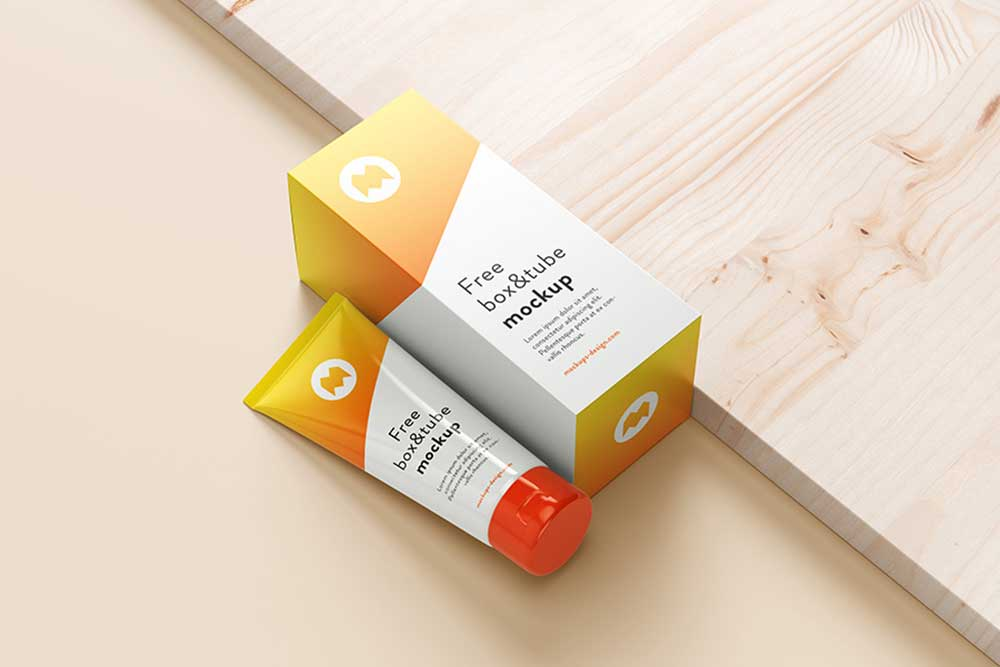 free cosmetic tube packaging mockup