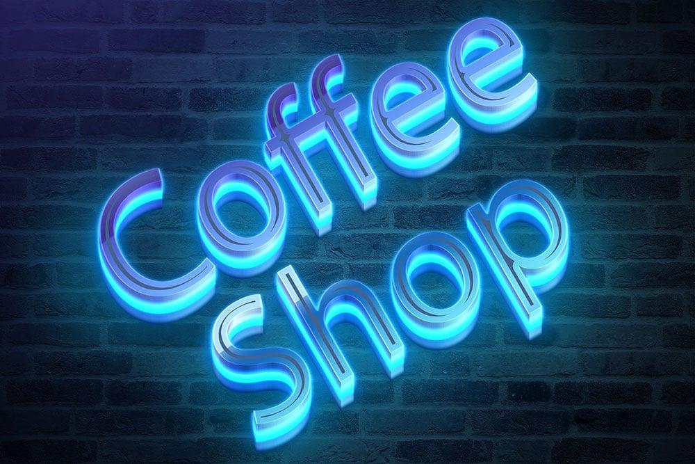 free download neon logo mockup