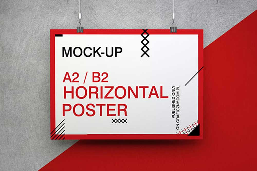 free download poster mockup in psd for presentation