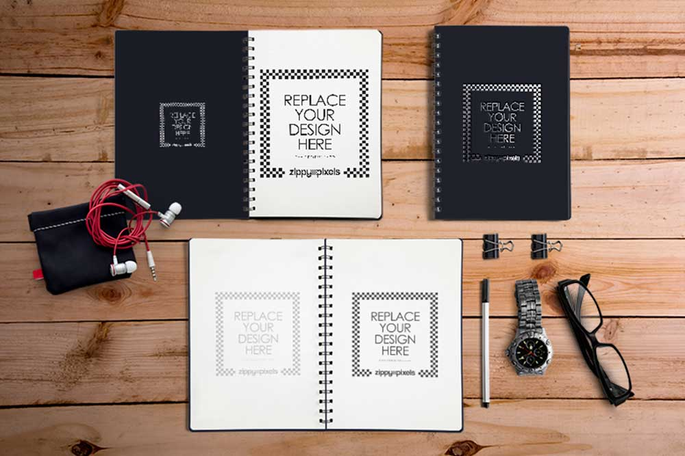 free download spiral notebook mockup