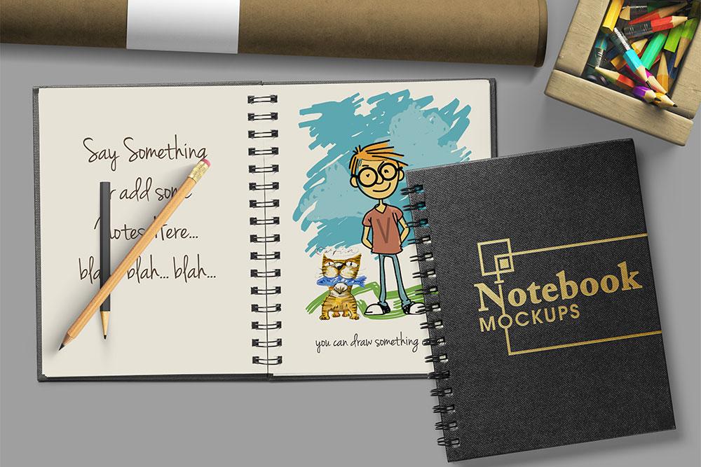 free download spiral notebook psd mockup
