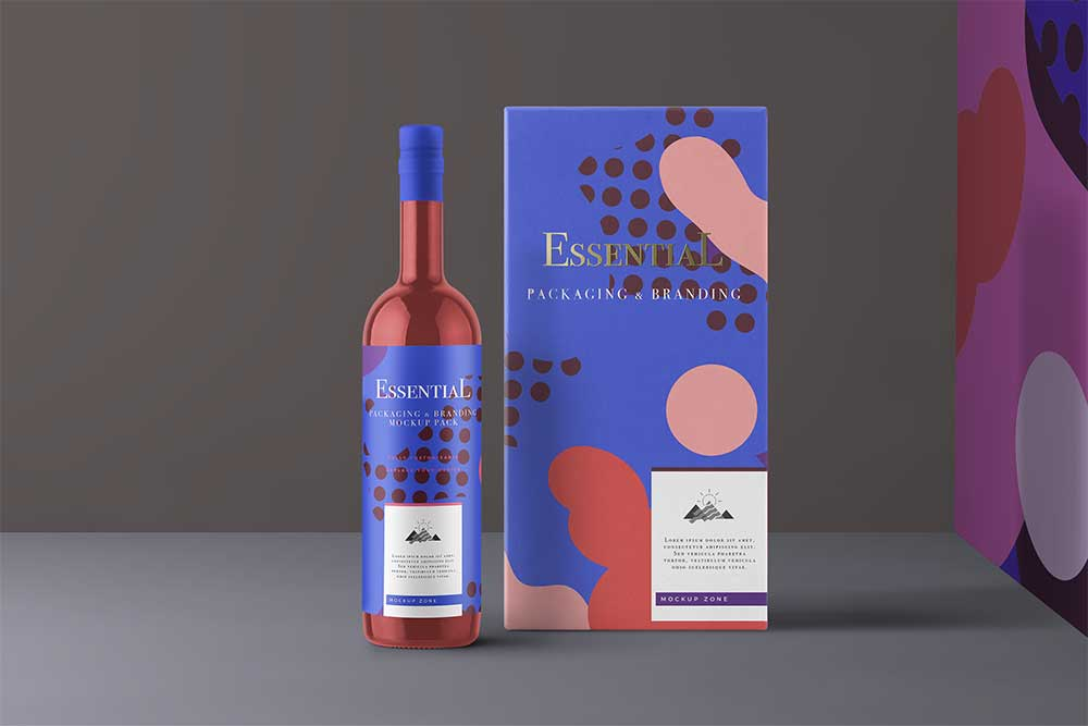 free psd wine bottle mockup