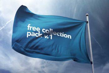 Flag Mockup Free PSD