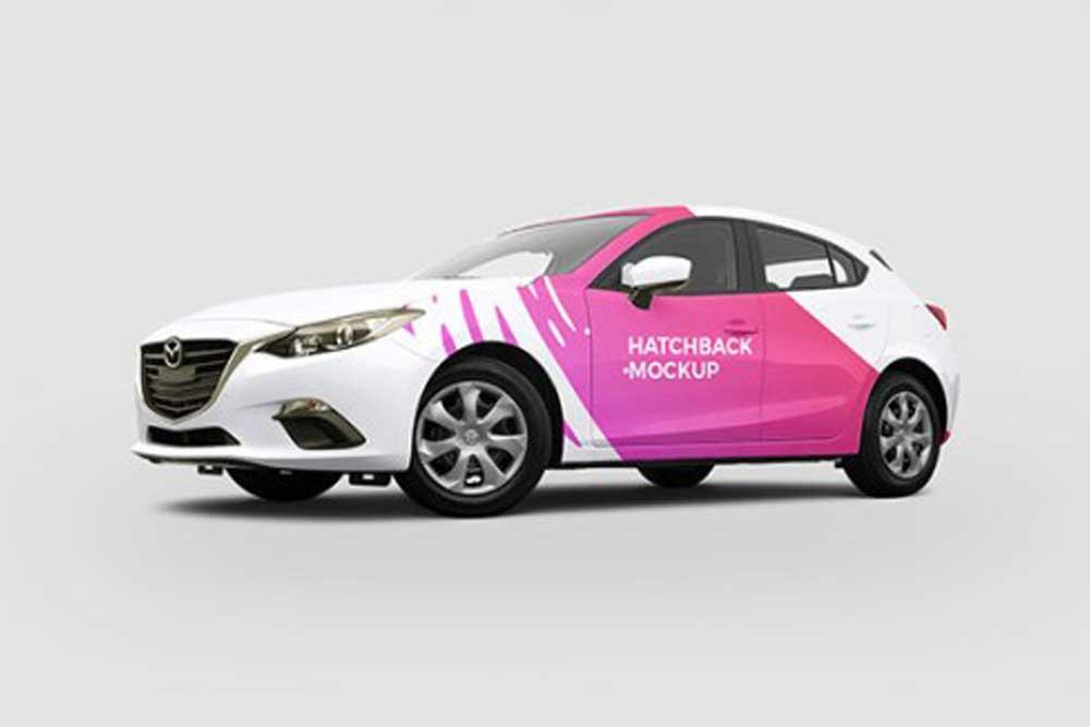 hatchback car psd mockup