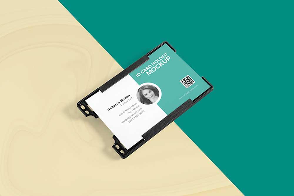 free id card holder mockup
