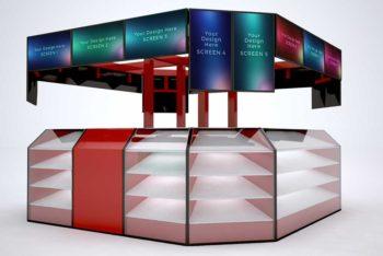 Free Kiosk Mockup In PSD