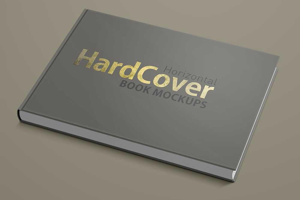 landscape hard cover book mockup