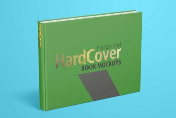 Free Landscape Hard Cover Book Mockup