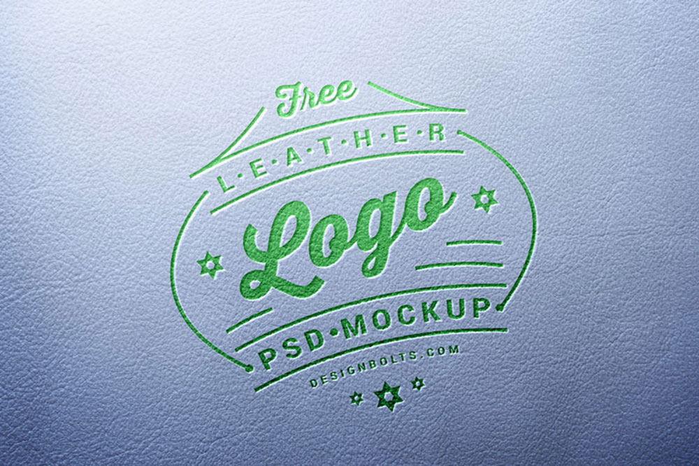 free leather stamping logo mockup