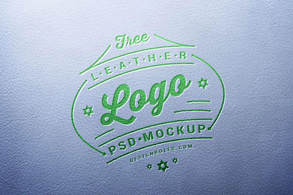 free leather stamping logo mockup