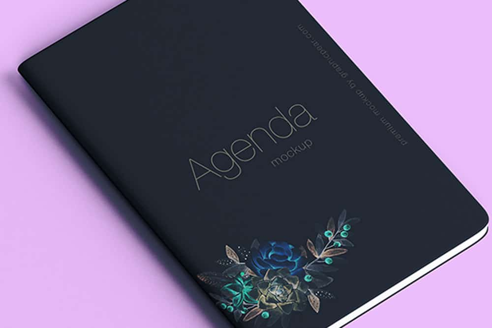 free agenda notebook mockup