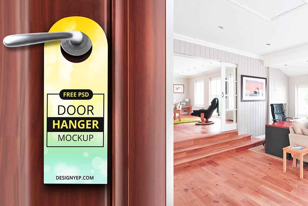 free psd door hanger mockup