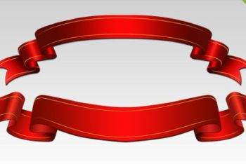 Free Red Shiny Ribbons Design Mockup in PSD
