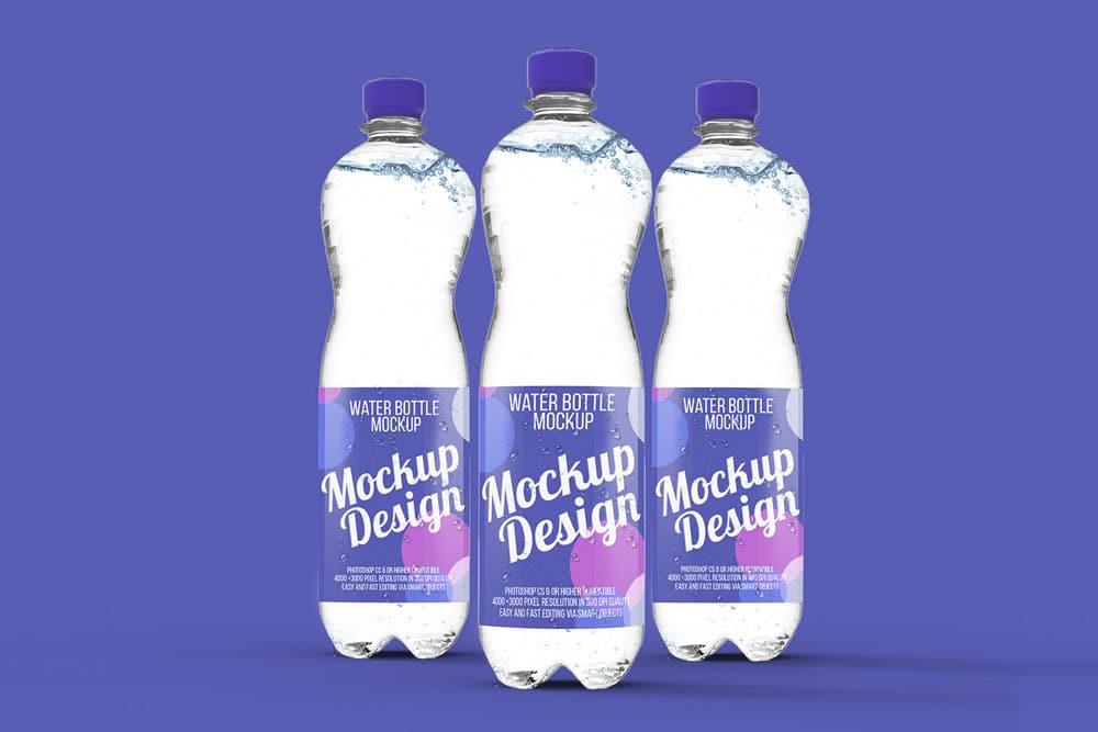 free water bottle psd mockup