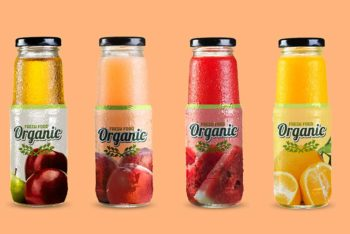 Free Download Fruit Juice Glass Bottle Mockup
