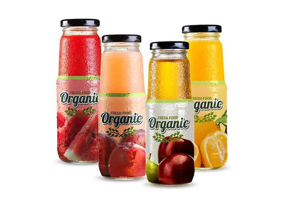 fruit juice glass bottle mockup