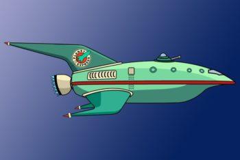 Free Futurama Ship Express Design Mockup in PSD
