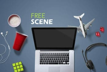 Free MacBook Plus Entertainment Scene Mockup in PSD
