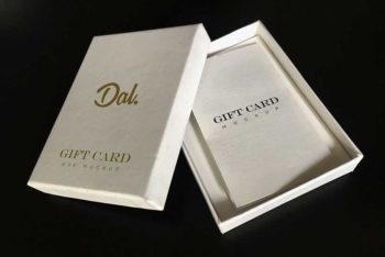 Gift Card Box Mockup In PSD
