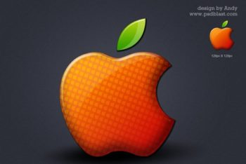 Free Colored Shiny Apple Logo Mockup in PSD