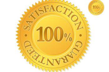 Gold Satisfaction Guaranteed Seal Mockup in PSD