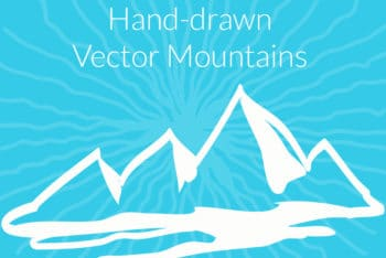 Free Hand Drawn Mountains Design Mockup in PSD
